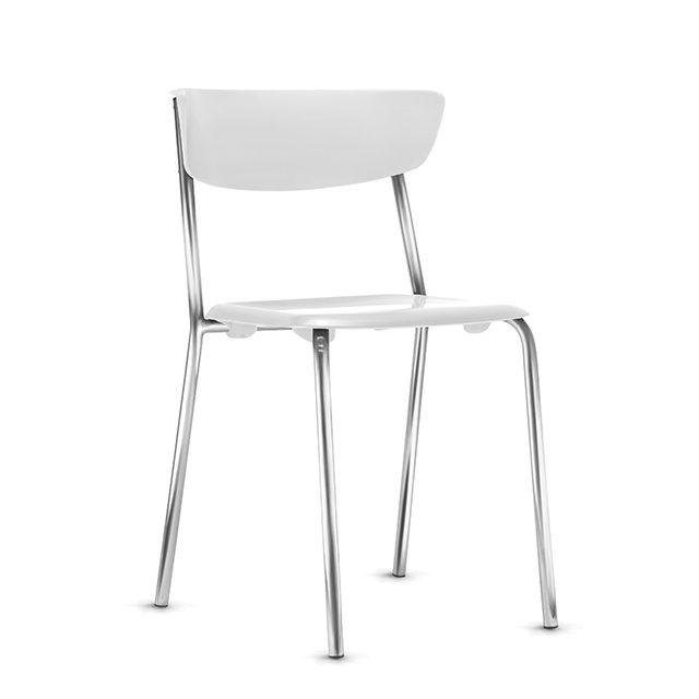 Cadeira Fixa Level Base Cromada - Branco