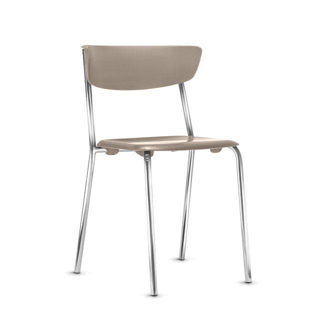 Cadeira Fixa Level Base Cromada - Nude