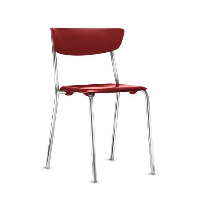 Cadeira Fixa Level Base Cromada - Vermelho