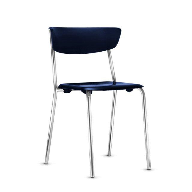 Cadeira Fixa Level Base Cromada - Azul Royal