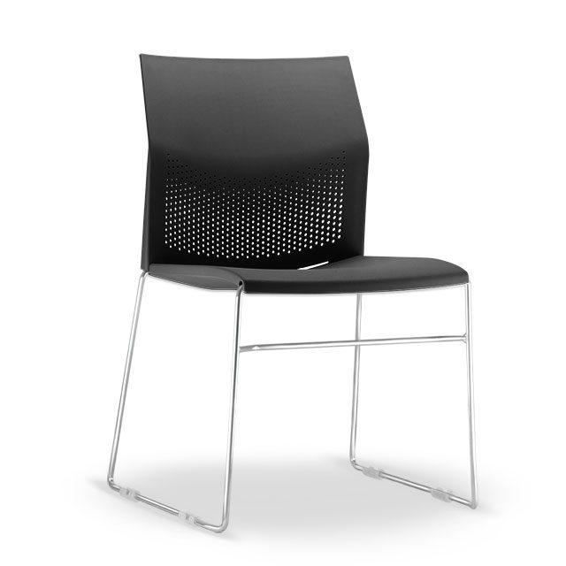 Cadeira Flour Base Cromada - Preto
