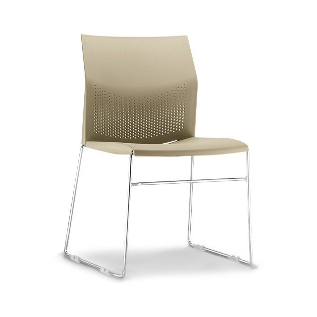 Cadeira Flour Base Cromada - Nude