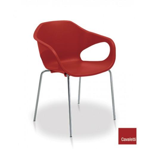 Cadeira Fixa Stay 4P CR - Vermelha